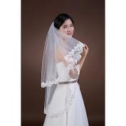 FUNAN Wedding Veil Two-tier Fingertip Veils Lace Applique Edge , white