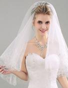 FUNAN Wedding Veil Two-tier Fingertip Veils Pencil Edge Organza , ivory