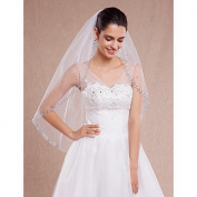 FUNAN Wedding White / Ivory Veil One-tier Fingertip Veils Cut Edge / Beaded Edge , ivory