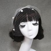 FUNAN Handmade Wedding Veil One-tier Blusher Veils/Veils for Short Hair/Birdcage Veils Cut Edge , white