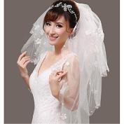FUNAN Wedding Veil Four-tier Fingertip Veils Beaded Edge Tulle White , white