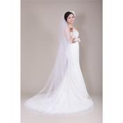 FUNAN Wedding Veil One-tier Chapel Veils Ribbon Edge Tulle White Ivory Beige , white
