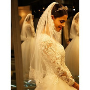 FUNAN Wedding Veil One-tier Cathedral Veils Lace Applique Edge , ivory