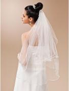 FUNAN Wedding Veil Two-tier Fingertip Veils Pencil Edge 35.43 in (90cm) Tulle WhiteA-line, Ball Gown, Princess, Sheath/ Column, Trumpet/