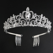 Veewon Princess Tiara with Comb Wedding Bridal Tiara Headband Charming Crystal Rhinestones Hair Accessory