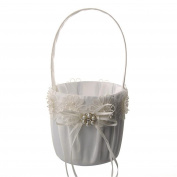 Western Wedding Flower Girl Basket, Satin Bowknot Faux Pearl Decor Flower Basket,Lace Flower Wedding Basket, Marriage Props Wedding Supplies - Beige, 13(W)x23(H)cm
