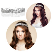 Veewon Hairband Bridal Crowns Headband Women Crystal Tiaras Hair Clips for Wedding Hair Accessories