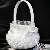 Nalmatoionme Elegant Satin Rose Bowknot Wedding Ceremony Flower Girl Basket