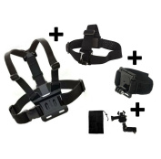 Set of 3 main accessories - Chest Head Wrist Strap for Kitvision Escape 4KW HD5W HD5 Action Camera Generic Compatible with Kitvision Escape action camera