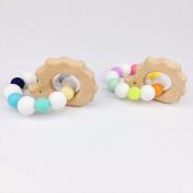 baby tete Baby Nursing Hedgehog Bracelet 2pc Teething Wood Beads Diy Jewellery Teething Silicone Beads New Born Toy