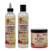 "Alikay Naturals Caribbean Coconut Milk Shampoo + Conditioner + Aloe Berry Styling Gel 240ml ""Set"""