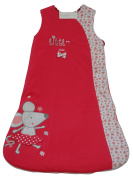 Baby Sleeping Bag 2.5 TOG Cotton Bedding 6-24 Month - boys and girls colours - navy blue, red, pink, cream - Mouse 18-24 Months