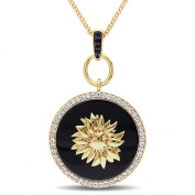 V1969 Italia Black Agate White and Black Sapphire Sunflower Necklace in Yellow Gold Plated Sterl