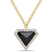 V1969 Italia Black Agate And White Sapphire Prism Necklace In Yellow Gold Plated Sterling Silver