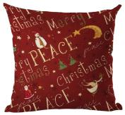 ZebraSmile Christmas Printing Pillow 2017 Square Throw Cotton Linen Pillow Cushion with Stuff Home Sofa Decor