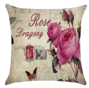ZebraSmile Roses Cotton Linen Sofa Home Decor Design Throw Pillow with Inner Cushion 43cm X 43cm Used as Chair Seat Back, Home Sofa Bed