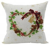 ZebraSmile Christmas Digital Printing Cushion covers Cotton Linen Pillowcase Sofa Pillow Slip Pillow Sham For Car Chair Seatback Home Sofa 43cm x 43cm