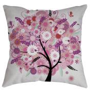 ZebraSmile Tree Digital Printing Cushion covers Cotton Linen Pillowcase Sofa Pillow Slip Pillow Sham For Car Chair Seatback Home Sofa 43cm x 43cm