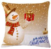 ZebraSmile Christmas Decorative Cotton Linen Square Throw Pillow Cushion Pillow with Inner 43cm X 43cm