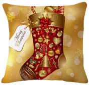 ZebraSmile Christmas 43cm X 43cm Cotton Linen Decorative Throw Pillow with Filling Cushion with Inner Sofa Pillow