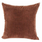 TJW Pillow Case Soft Luxury Decor Supersoft Striped Velvet Corduroy Sofa Bed Cushion Cover (Brown, 60x60cm