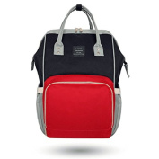 LAND Large Baby Nappy Backpack Mommy Changing Bag Mummy Nappy Black Red