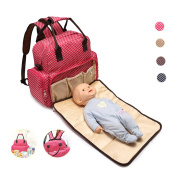 HOOPEN Nappy Bag Backpack Tot Nappy Bag Backpack Totes Handbag Mummy bag Multi-Functional Milk Bottle Nappy Change Bag with Folded Cushion Bed Insulated Pockets Large Capacity Waterproof