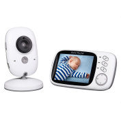 Baby Monitor, 8.1cm LCD Wireless Digital Audio Video Baby Monitor Security Camera with Two Way Talk / IR Night Vision / Temperature Monitor / 8 Lullabies / Big LCD Display