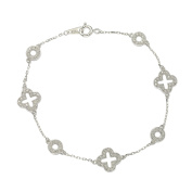 Suzy Levian Sterling Silver White Cubic Zirconia Clover and Circles Bracelet