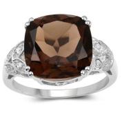 Olivia Leone Sterling Silver 6.18ct. Smoky Quartz and Diamond Accent Ring