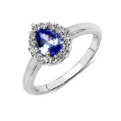 Olivia Leone Sterling Silver 7/8ct Tanzanite and White Topaz Ring
