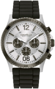Caravelle New York Mens Chronograph Stainless Steel Case Black Rubber Strap Silver Dial Silver Watch - 45A126