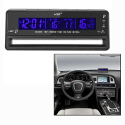 OFKPO Multifunctional Car Voltage Monitor Thermometer Clock Digital Clock with LCD Display