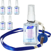 6 Bottles of Purell Personal Hygenic Hand Sanitizer Gel Rub 60ml Travel Pocket Size Pump With Free Lanyard Clip