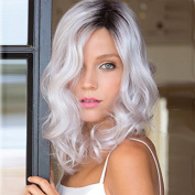 Fashion Celebrity Wigs for ladies Natural Looking Middle Part Dark Roots White Curly Wig Short Synthetic Hair Wigs 36cm