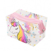 Albeey Unicorn Transparent Waterproof Three-dimensional Square Cosmetic Bag