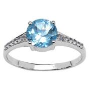 Olivia Leone Sterling Silver 1 5/8ct Blue Topaz and White Topaz Ring