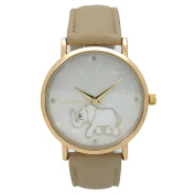 Olivia Pratt Women's Mother of Pearl Elephant Outline Leather Watch One Size