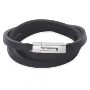 West Coast Jewellery Crucible Stainless Steel Black Leather Wrap Bracelet