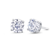Beverly Hills Silver Sterling Silver 5mm Round Cubic Zirconia Stud Earrings