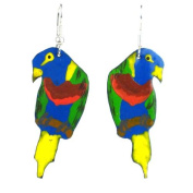 Global Crafts Handmade Collection Painted Recycled Tin Parrot Earrings