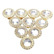 10 Pcs Round 30mm Pull Handle Glittering Crystal Glass Rhinestone Knob for Cupboard Cabinet Kitchen Door Drawer Knobs Handle Gold