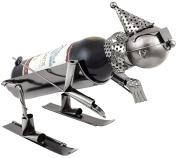 BRUBAKER Skier Wine Bottle Holder Stand Rack Home Kitchen Table Art Decoration with Gift Card
