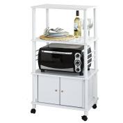 SoBuy® White Microwave Shelf, Kitchen Wheeled Storage Trolley, Kitchen Cabinet, 3 Shelves + 1 Cabinet, FRG12-W