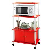 SoBuy® Brand New Microwave Shelf, Kitchen Wheeled Storage Shelf with Cabinet, Red, FRG12-R