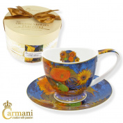 CARMANI - Porcelain Cup and Saucer with 'Sunflowers' by Van Gogh 280 ml