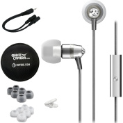 MEElectronics Crystal In-Ear Headphones with Microphone Made with Crystal Silver (EP-M11J-SL-MEE) Monoprice 6-inch 3.5mm Splitter Stereo 3.5mm Stereo Jack Cable & Buydig Earphone Case Black