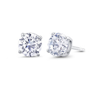 Beverly Hills Silver Sterling Silver 8mm Round Cubic Zirconia Stud Earrings