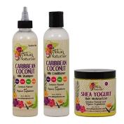 "Alikay Naturals Caribbean Coconut Milk Shampoo + Conditioner + Shea Yoghurt Hair Moisturiser 240ml ""Set"""