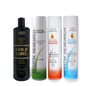 Keratin Research Gold Label LARGE SET Professional Keratin Hair Straightening Treatment Super Enhanced Formula Specifically Designed for Coarse Curly Black, African, Dominican and Brazilian Hair types
